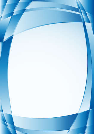Abstract blue background with waves and a white square in the middle to place texts. A4 size - 21cm x 30cm - Vector image