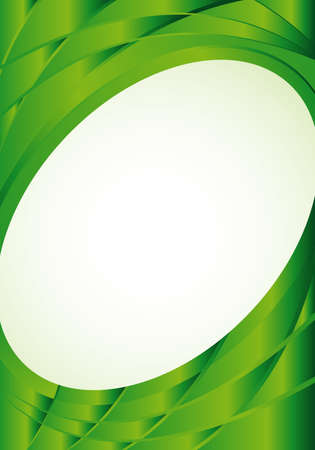 Abstract green background with waves and a white oval in the middle to place texts. A4 size - 21cm x 30cm - Vector image