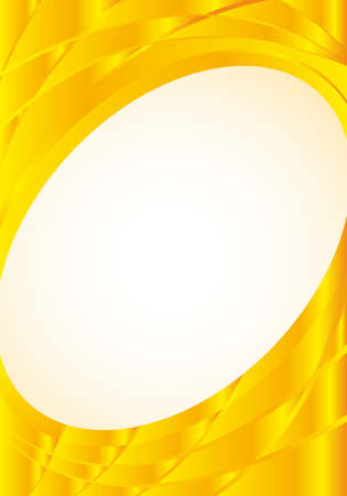Abstract yellow background with waves and a white oval in the middle to place texts. A4 size - 21cm x 30cm - Vector image