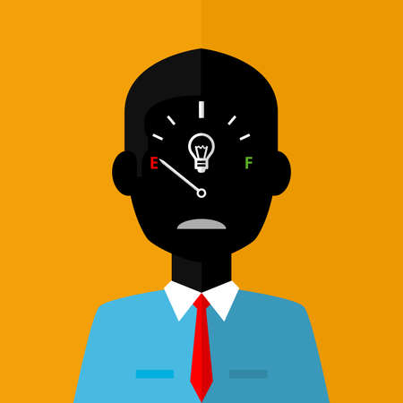 Black silhouette of sad businessman with low creativity gage concept icon on face on orange background