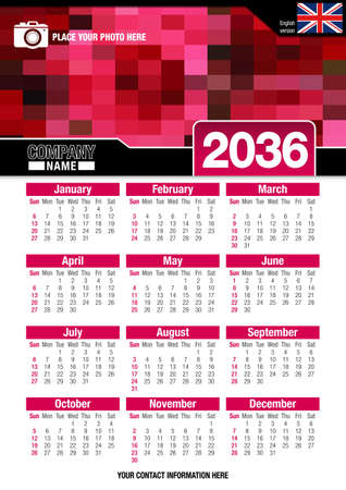 Useful wall calendar 2036 with design of red colors mosaic. Vertical A4 format. Size: 210mm x 297mm. English version - Vector image