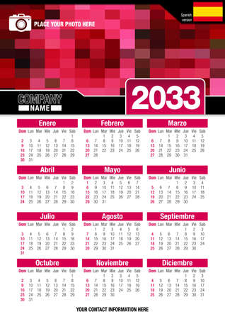 size: Useful wall calendar 2033 with design of red colors mosaic. Vertical A4 format. Size: 210mm x 297mm. Spanish version - Vector image