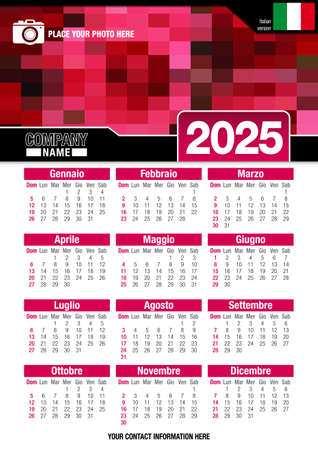 Useful wall calendar 2025 with design of red colors mosaic. Vertical A4 format. Size: 210mm x 297mm. Italian version - Vector image