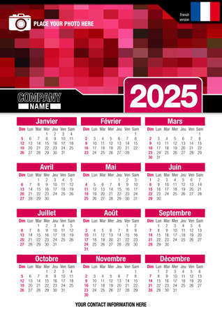 Useful wall calendar 2025 with design of red colors mosaic. Vertical A4 format. Size: 210mm x 297mm. French version - Vector image