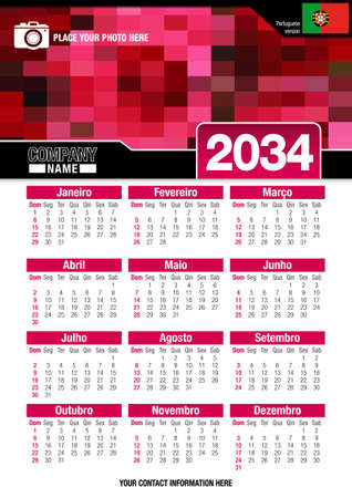 size: Useful wall calendar 2034 with design of red colors mosaic. Vertical A4 format. Size: 210mm x 297mm. English version - Vector image