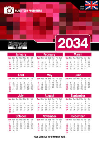 image size: Useful wall calendar 2034 with design of red colors mosaic. Vertical A4 format. Size: 210mm x 297mm. English version - Vector image