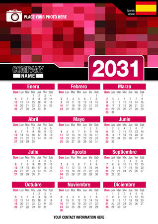 size: Useful wall calendar 2031 with design of red colors mosaic. Vertical A4 format. Size: 210mm x 297mm. Spanish version - Vector image