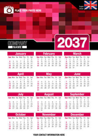 size: Useful wall calendar 2037 with design of red colors mosaic. Vertical A4 format. Size: 210mm x 297mm. English version - Vector image