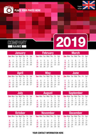 image size: Useful wall calendar 2019 with design of red colors mosaic. Vertical A4 format. Size: 210mm x 297mm. English version - Vector image Illustration