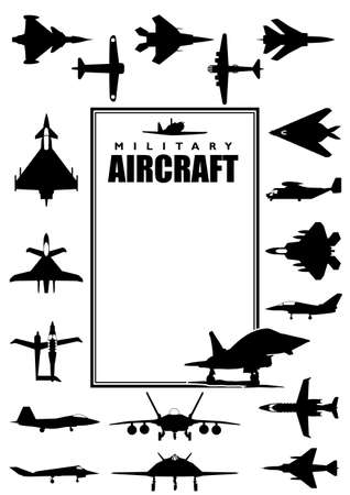 image size: Book cover with silhouettes of different types of military aircraft on white background. A4 size - vector image