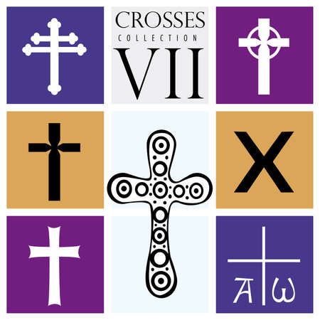Set of different types of crosses on purple background - Vector image Çizim