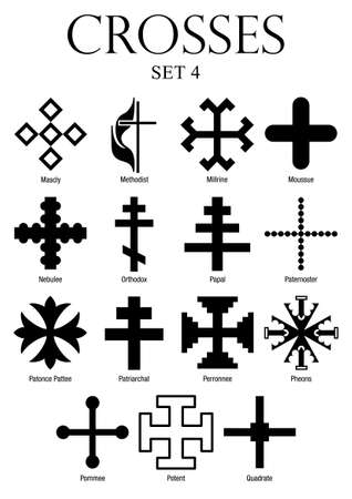 image size: With Names Set of crosses on white background. A4 size - vector image