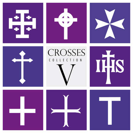 Set of different types of crosses on purple background - Vector image Ilustrace