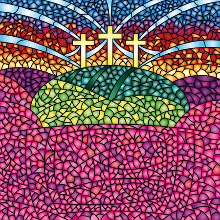 Colorful stained glass with the theme of the crucifixion of Christ - Vector image Illustration