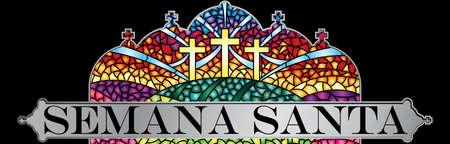 Pasqua - Settimana Santa in lingua spagnola - in vetro colorato con il tema della crocifissione di Cristo con cornice nera, scritta della Bibbia - Immagine vettoriale