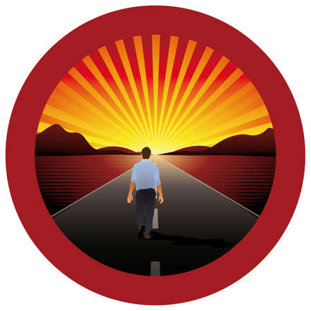 Man walking alone towards the horizon on a road with red round frame - vector image