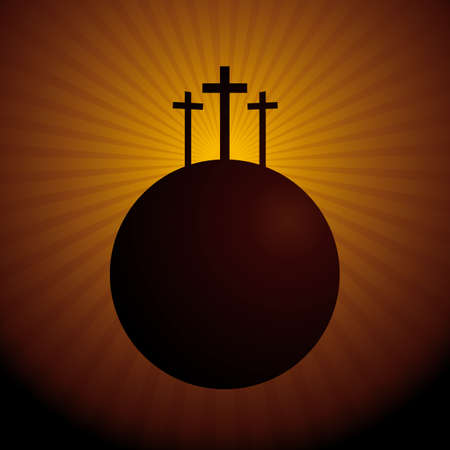 World Silhouette With the above three crosses symbolizing the crucifixion of Christ - Vector image Illustration