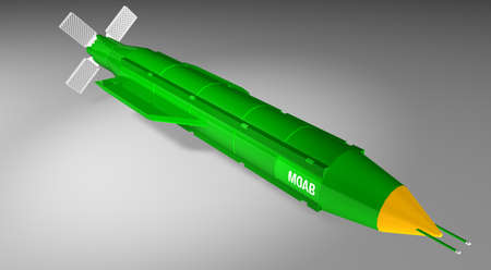 3D rendering of Massive Ordnance Air Blast - MOAB - Bomb on white background