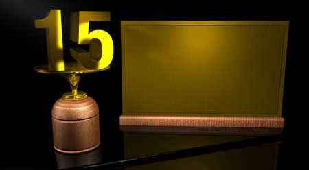 number 15: With wooden trophy number 15 in gold and golden plate with space to write on mirror table in black background. Commemorative Trophy number 15 for celebrating anniversaries or Important Dates