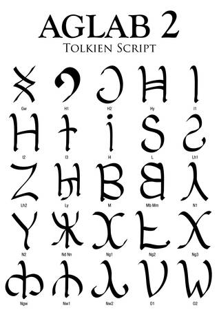 Aglab Alphabet 2 - Tolkien Script on white background - Vector Image