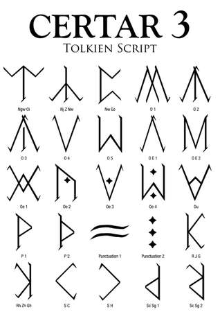 Certar Alphabet 3 - Tolkien Script on white background - Vector Image