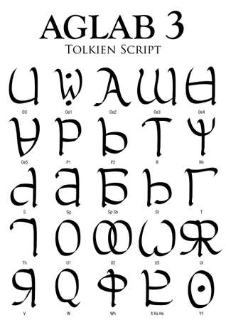 writting: AGLAB Alphabet 3 - Tolkien Script on white background - Vector Image