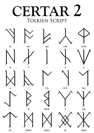 CERTAR Alphabet 2 - Tolkien Script on white background - Vector Image