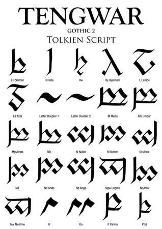 TENGWAR GOTHIC Alphabet 2 - Tolkien Script on white background - Vector Image Ilustração