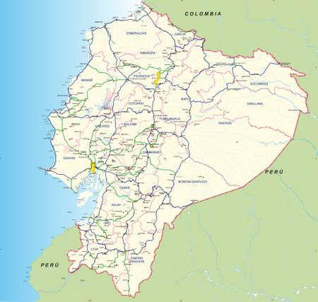 道路と水力のグラフィカルなマップ エクアドルの主要道路、地方の境界、地方首都、主要都市と名前 - 2004 年 - ベクトル画像
