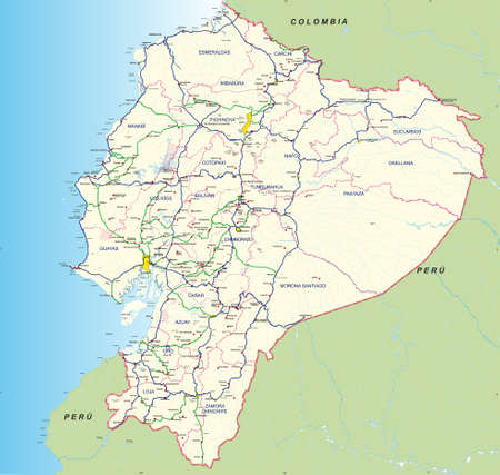 Road and hydro graphical map of Ecuador with the main roads, provincial boundaries, provincial capitals and main cities names - Year 2004 - Vector Image Çizim