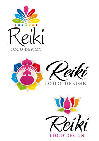 reiki: Three different Reiki logos with floral theme with the colors of the seven chakras - Vector image