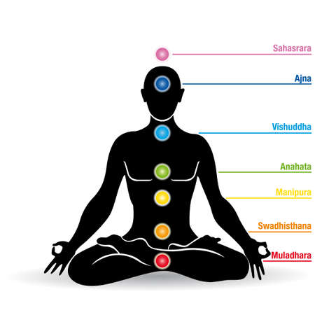 Black silhouette of man doing yoga in lotus flower with chakras names - Vector image