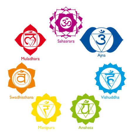 sahasrara: Set of the seven chakras in different colors with their names on white background - Vector image
