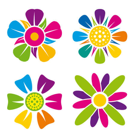 Set of four multicolored flower icons on white background _ Vector image