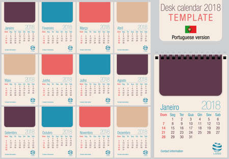 vertical format: Useful desk calendar 2018 template in pastel colors, ready for printing on laser or offset. Size: 150mm x 210mm. Format A5 vertical. Portuguese version