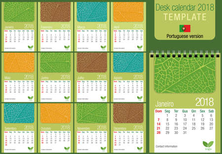 vertical format: Useful calendar calendar 2018 template with leaf texture on green background. Size: 150 mm x 210 mm. Format A5 vertical. Portuguese version