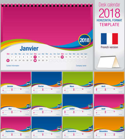 version: Desk triangle calendar 2018 colorful template. Size: 210mm x 150mm. Format A5. Vector image. French version Illustration