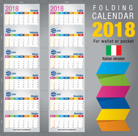 pocket size: Useful foldable calendar 2018, colorful template. Open size: 90mm x 320mm. Close size: 90mm x 55mm. File contains cutting & folding guides. Italian version