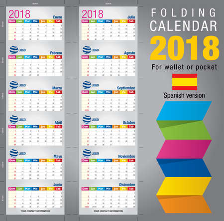 pocket size: Useful foldable calendar 2018, colorful template. Open size: 90mm x 320mm. Close size: 90mm x 55mm. File contains cutting & folding guides. Spanish version
