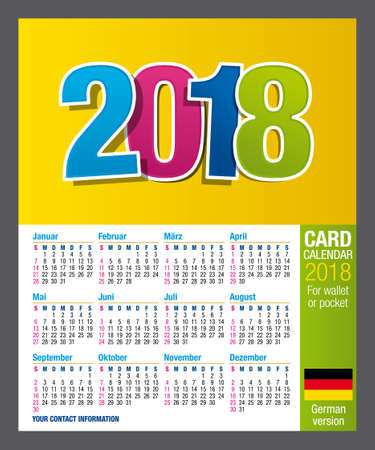 Useful Two Sided Calendar Calendar 2018 For Wallet Or Pocket