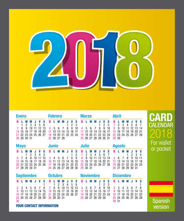 Useful Two-sided calendar calendar 2018 for wallet or pocket, in full color. Size: 9 cm x 5.5 cm. Spanish version
