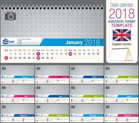 Useful desk triangle calendar 2018 template, ready for printing. Size: 22 cm x 12 cm. Horizontal format. Spanish version