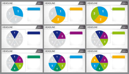 Circular foot divided into 3 equal parts and circular foot divided into 6 equal parts are illuminated in sequence on white background. Elements for infographics, use in presentation. Vector image