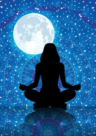 Illustration of silhouette of woman meditating under full moon on a starry blue night