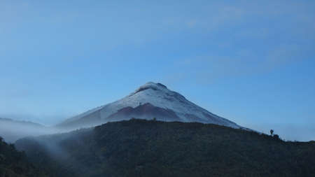 View of the north face of the Cotopaxi volcano at dawn - Ecuador Stock Photo