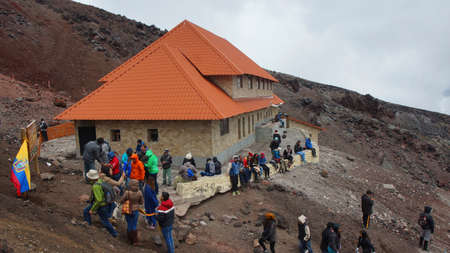 jose: Cotopaxi National Park, Cotopaxi  Ecuador - August 11 2017: Tourists visiting the Jose Rivas refuge located at 4800 meters in the volcano Cotopaxi