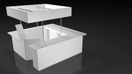 White exhibition stand square shape with open door on black background. 3D Rendering