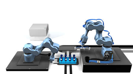 3D model of an automated laboratory with two mechanical arms taking samples from a tray of test tubes with white background. 3D render image Stock Photo
