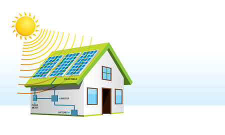 A small house with solar energy installation with names of system components on white background. Illustration