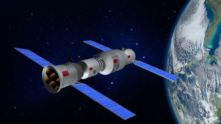 3D model of the Chinese space station Tiangong orbiting the planet Earth. 3D rendering
